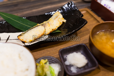 grilled japanese fish in restaurant