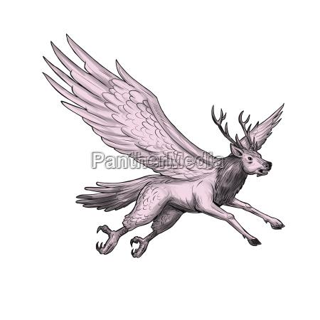 peryton flying side tattoo