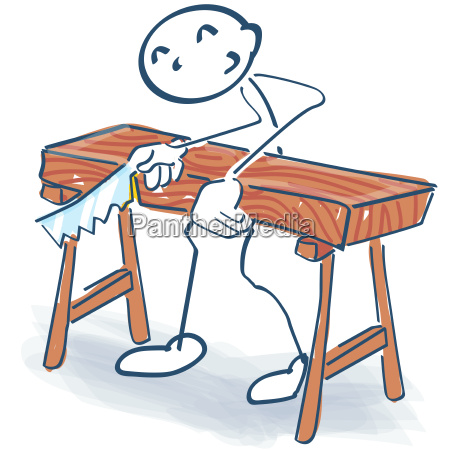stick figure as a craftsman sawing