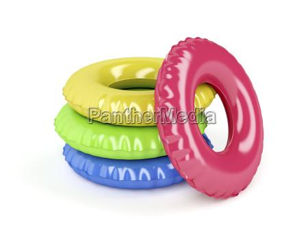 schwimmringe mit verschiedenen farben