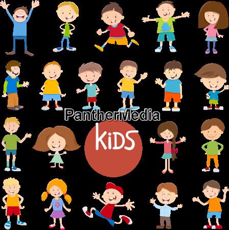 cartoon kid characters big set