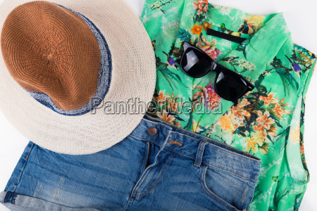 womens summer outfit top view