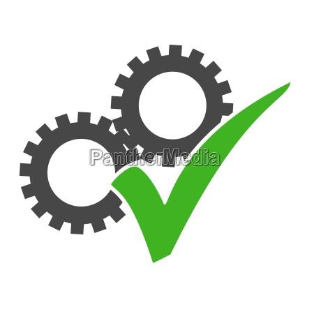 zahnrad icon mit gruenem haekchen