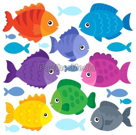 stylized fishes theme set 1