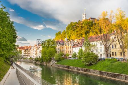 medieval houses of ljubljana slovenia europe