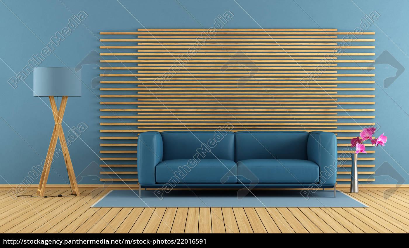 Modernes Wohnzimmer Mit Blauem Sofa Lizenzfreies Bild 22016591