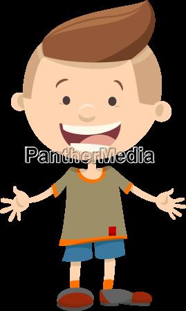 smiling kid boy cartoon character