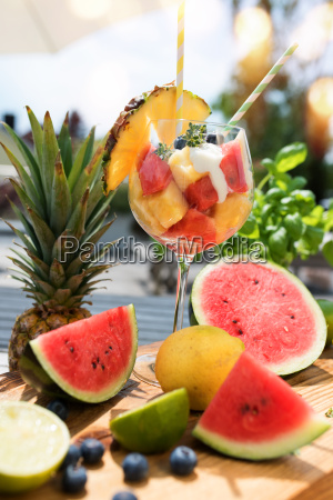 fruit cocktail on a summer terrace