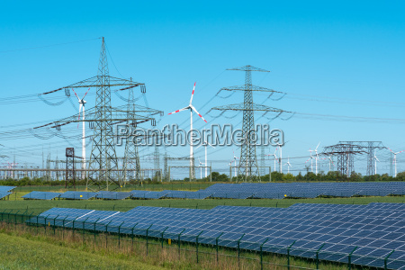 renewable energies and a substation in