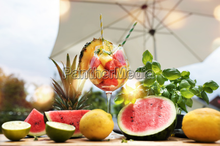 fresh fruits on a summer terrace