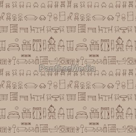 hand gezeichnete skizze moebel muster