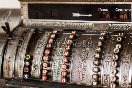 close up of vintage cash register