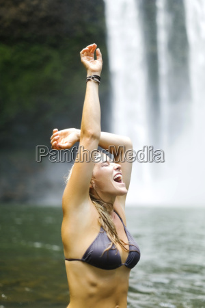 usa hawaii kauai woman wading in