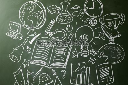 hand gezeichnete symbole der schulfaecher an