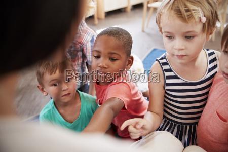 pupils at montessori school looking at