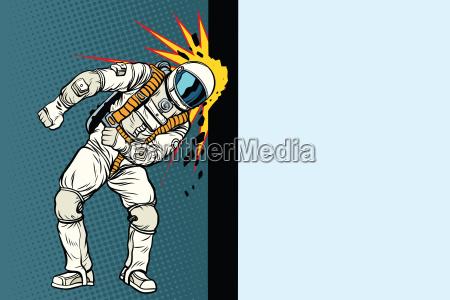 kosmonaut klopft an die wand traum