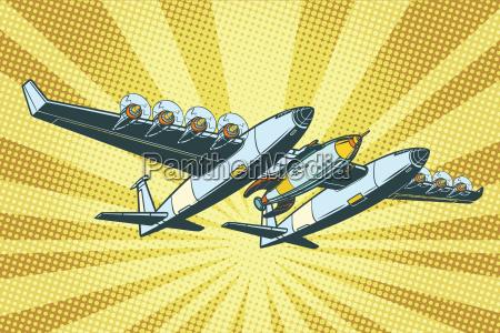 flugzeug um raketen in den weltraum