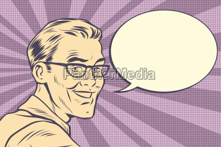 beautiful smiling man with glasses vintage