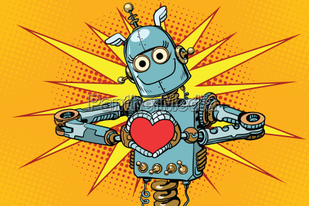 roboter liebhaber mit einem roten herzen