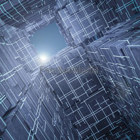 licht das ueber futuristischen wuerfeln wiedergabe