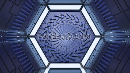 futuristic tunnel 3d rendering