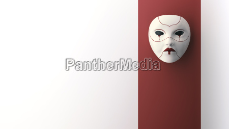 crying mask hanging on wall 3d