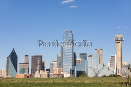 usa texas dallas skyline with reunion