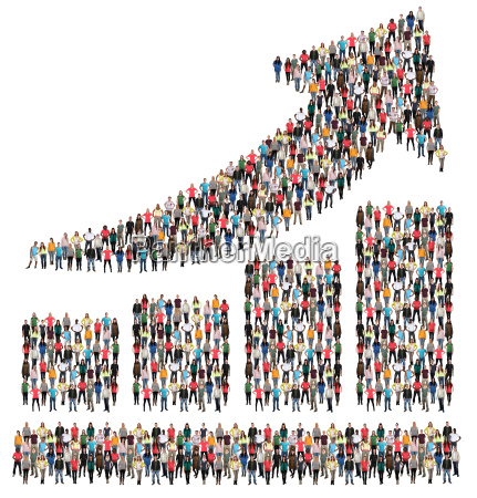 chart arrow business bars people group