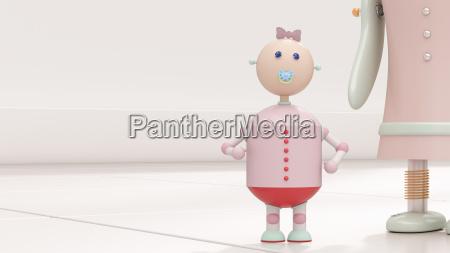 roboterbaby nahe bei mutter wiedergabe 3d