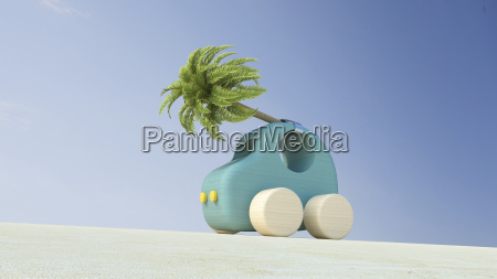 wooden toy car with palm tree