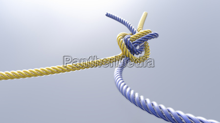 two knotted cords 3d rendering