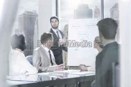 businessman leading a presentation in city