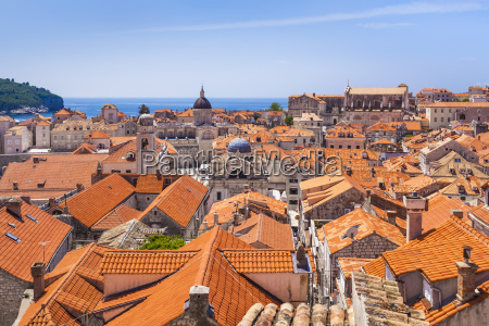 terracotta tile rooftop view of dubrovnik