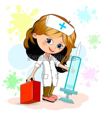 kleine maedchen krankenschwester