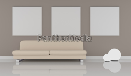 mock up poster with modern interior