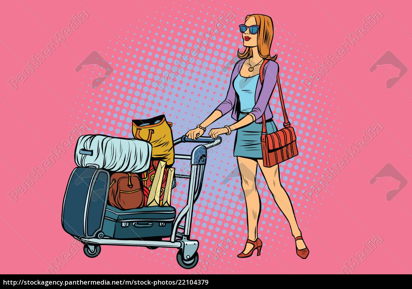 frau, tourist, mit, gepäckwagen - 22104379