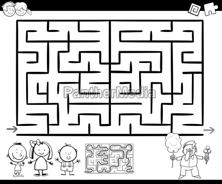 maze or labyrinth game coloring page