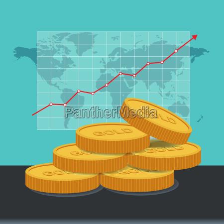 gold price concept golden coins price