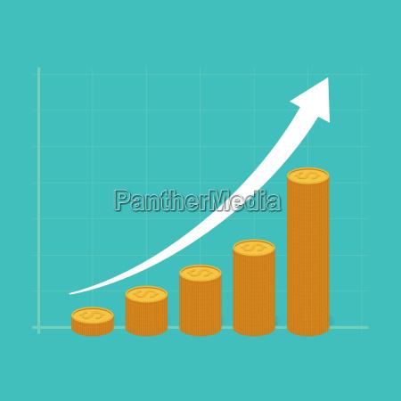 financial success concept stacks of golden
