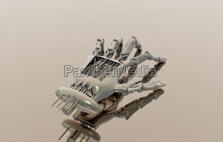roboterhand mit hautueberzug