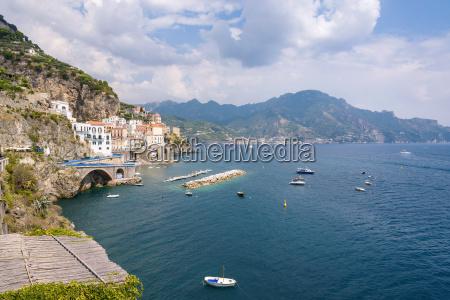 view of atrani town on amalfi