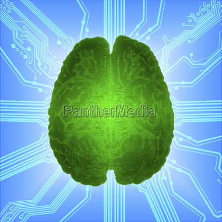wired green glowing brain over computer