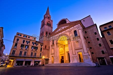 mantova city piazza andrea mantegna evening