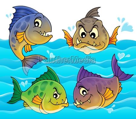 water and four piranhas