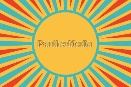 sun red yellow blue background pop