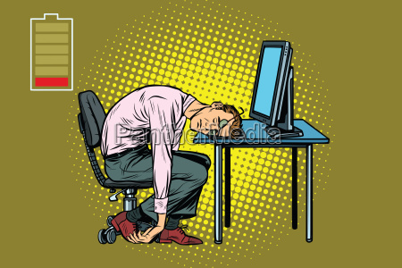 businessman sleeping at the computer