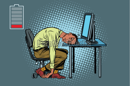 sleeping african businessman at the computer