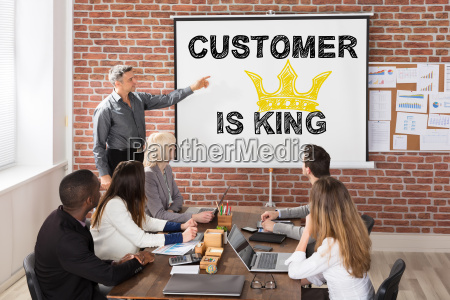 business man giving a presentation at