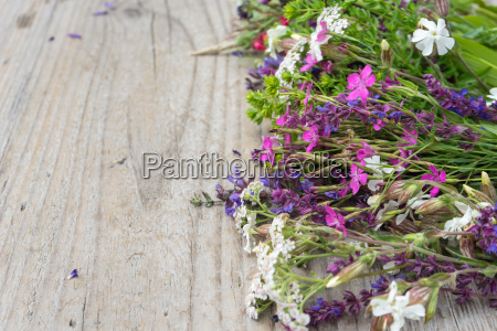 colorful meadow flowers on a wooden
