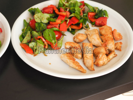 roasted chicken with salad